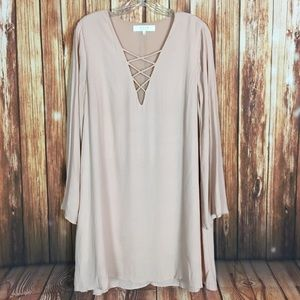 ASTR TheLabel Blush LongSleeve Strappy Tunic Dress
